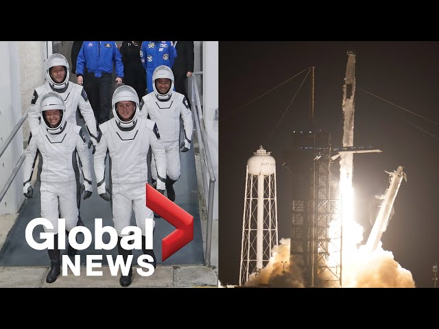 SpaceX rocketship launches 4 astronauts on NASA mission to ISS