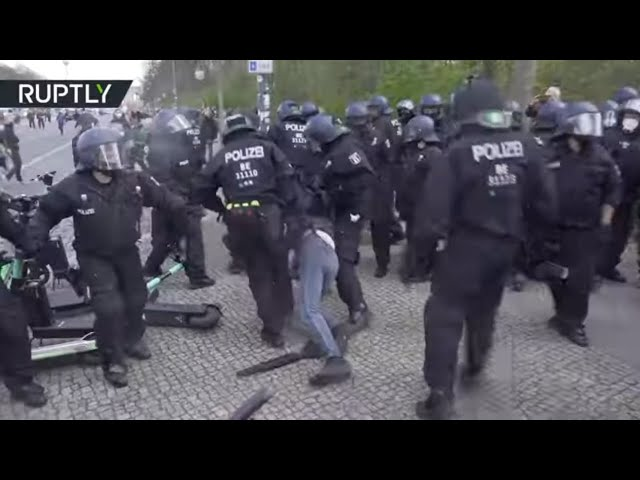 German police pepper spray protesters at rally against new Covid bill